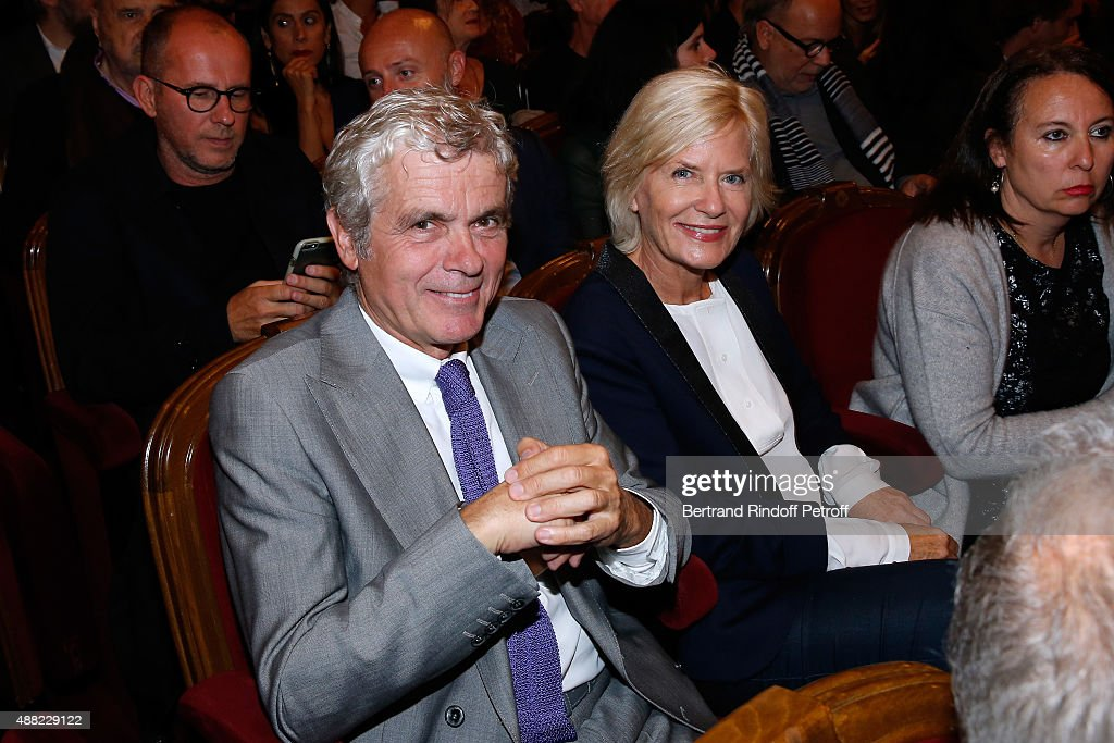 Journalist Claude Serillon and his wife Catherine Ceylac attend 'Le Mensonge' : Theater Play. Held at Theatre Edouard VII on September 14, 2015 in Paris, France.