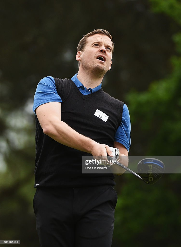 Journalist Dan Jones plays a shot during the Pro-Am prior to the BMW PGA Championship at Wentworth on May 25, 2016 in Virginia Water, England.