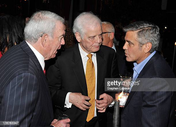 Journalist Dan Rather journalist Nick Clooney and actor George Clooney attend the after party for the premiere of 'The Ides of March' at the...