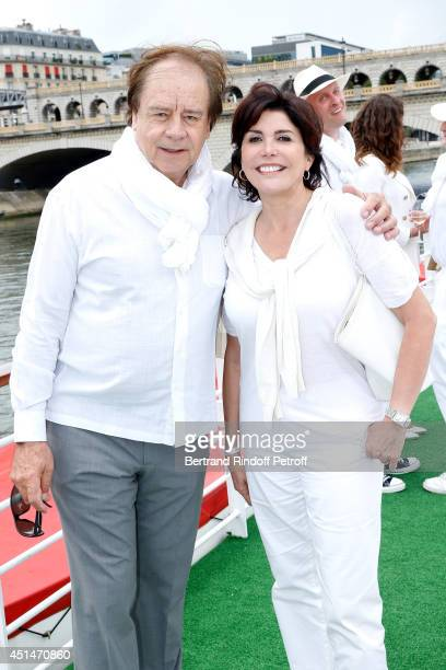 Journalist Daniel Lauclair and singer Liane Foly attend the 'Brunch Blanc' hosted by Barriere Group Held on Yacht 'Excellence' on June 29 2014 in...
