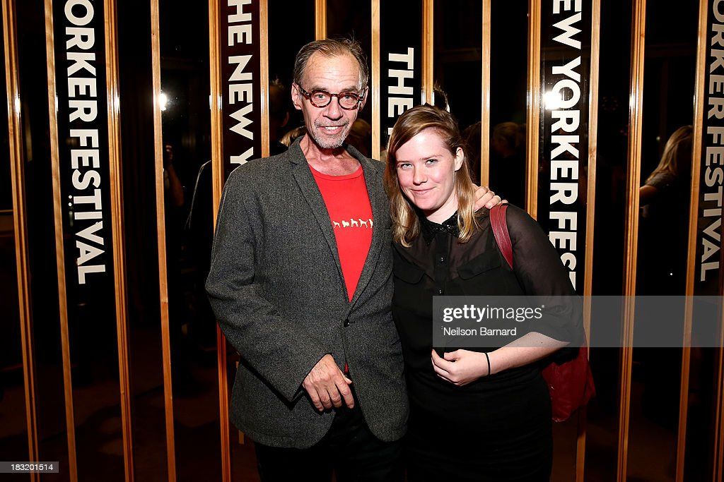 Journalist David Carr and daughter Erin Carr attend the New Yorker Festival 2013 party at The Standard on October 5 2013 in New York City