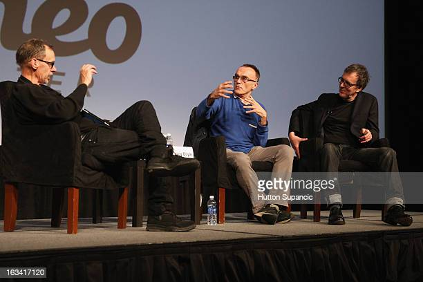 Journalist David Carr filmmaker Danny Boyle and composer Rick Smith speak onstage at A Conversation With Danny Boyle during the 2013 SXSW Music Film...