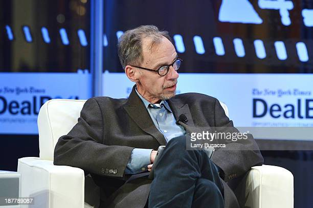 Journalist David Carr participates in a discussion at the New York Times 2013 DealBook Conference in New York at the New York Times Building on...