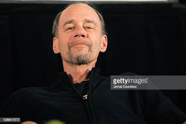 Journalist David Carr speaks at the Cinema Cafe 7 at Filmmaker Lodge during the 2011 Sundance Film Festival on January 27 2011 in Park City Utah