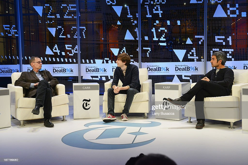 Journalist David Carr, Tumblr founder David Karp, and General Partner at Spark Capital Bijan Sabet participate in a discussion at the New York Times 2013 DealBook Conference in New York at the New York Times Building on November 12, 2013 in New York City.