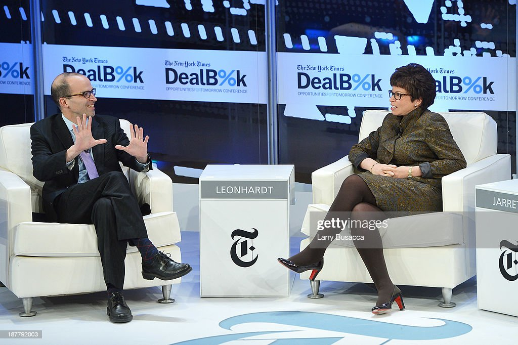 Journalist David Leonhardt and Senior Advisor to the President of the United States <a gi-track='captionPersonalityLinkClicked' href=/galleries/search?phrase=Valerie+Jarrett&family=editorial&specificpeople=5003206 ng-click='$event.stopPropagation()'>Valerie Jarrett</a> participate in the New York Times 2013 DealBook Conference in New York at the New York Times Building on November 12, 2013 in New York City.
