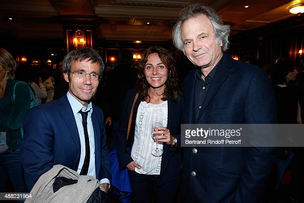 Journalist David Pujadas Guest and Journalist FranzOlivier Giesbert attend 'Le Mensonge' Theater Play Held at Theatre Edouard VII on September 14...