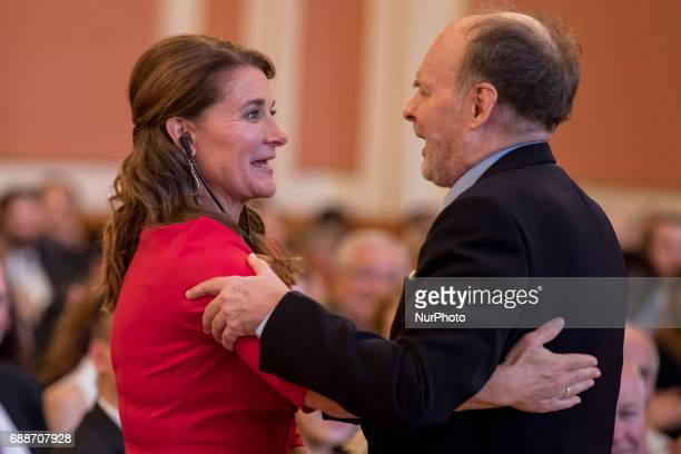 Journalist Dietrich Hahn and award winning Melinda Gates are pictured during the OttoHahn Peace Medal awarding ceremony at the town hall in Berlin...