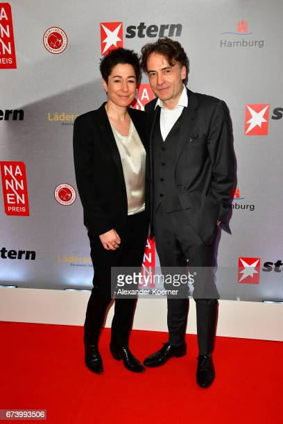 Journalist Dunja Hayali and Editorinchief 'DIE ZEIT' Giovanni di Lorenzo attend the Nannen Award 2017 on April 27 2017 in Hamburg Germany