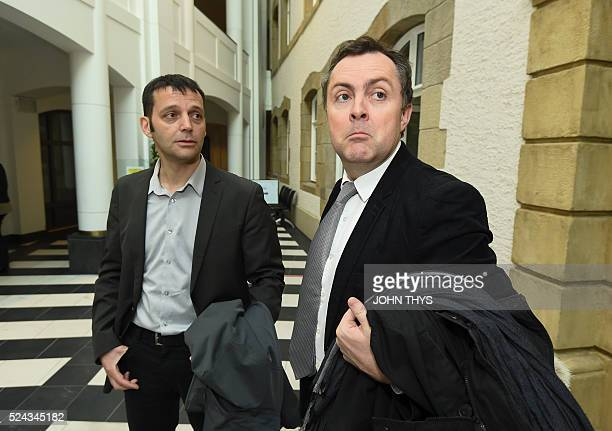 Journalist Edouard Perrin and his lawyer arrives at the courthouse in Luxembourg on April 26 for a trial over the socalled LuxLeaks scandal that...