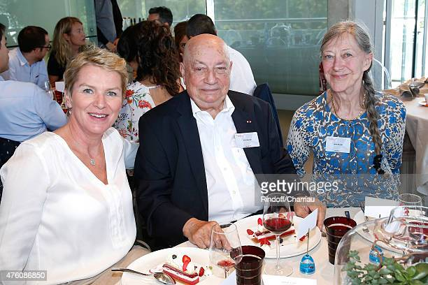 Journalist Elise Lucet Herve Bourges and Marie Bourges attend the 2015 Roland Garros French Tennis Open Day Fourteen on June 6 2015 in Paris France