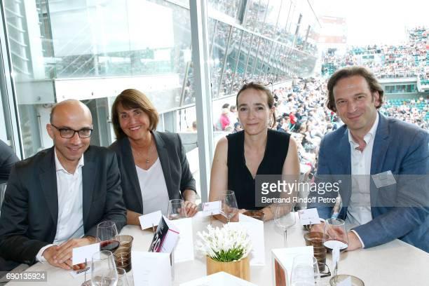 Journalist Emmanuel Kessler Politician Christine Albanel President of France Television Delphine Ernotte and journalist Francois Busnel attend the...