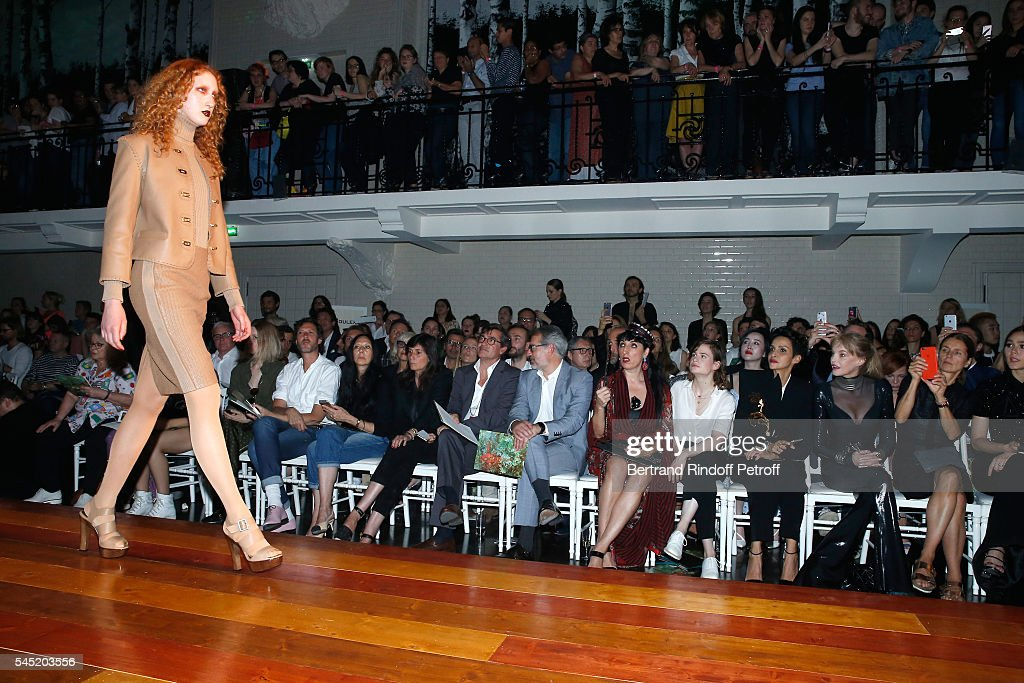 Journalist Emmanuelle Alt Owners of Gaultier Manuel Puig and his brother Marc Puig actress Rossy de Palma singer of 'Christine and the Queens' Eloise...