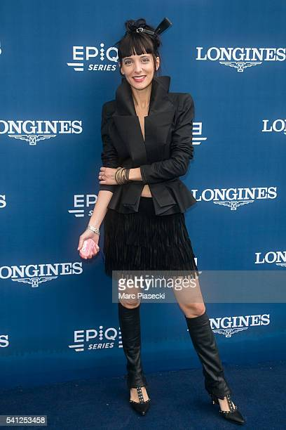 Journalist Erika Moulet attends the 'Prix de Diane Longines' on June 19 2016 in Chantilly France