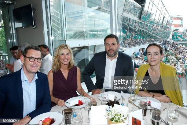 Journalist Francis Letellier actress Michele Laroque journalist Bruce Toussaint and President of France Television Delphine Ernotte attend the...