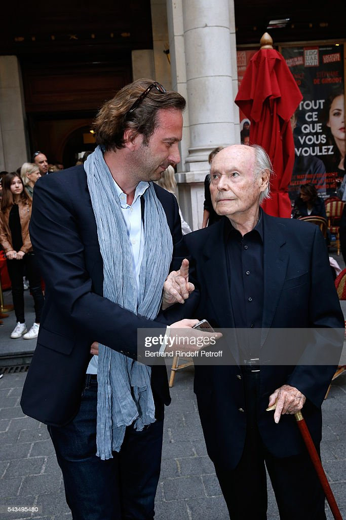 Journalist Francois Busnel and Member of 'Academie francaise' and autor of the Piece, Rene de Obaldia attend 'Du vent dans les branches de Sassafras' Theater Play Live on France 2 TV Chanel. Held at Theatre Edouard VII on June 28, 2016 in Paris, France.
