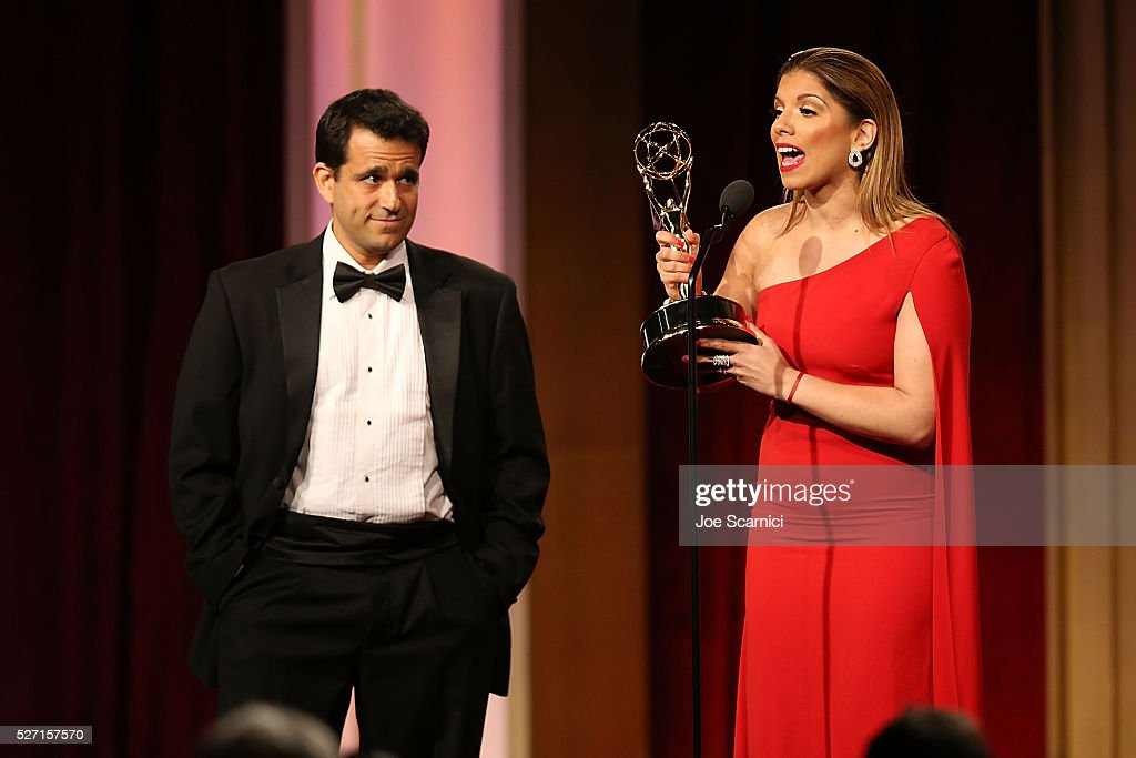 Journalist Gaby Natale speaks onstage after receiving two Emmys for Outstanding Daytime talent in a Spanish Language Program and the other for Outstanding Entertainment Program in Spanish at the 2016 Daytime Emmy Awards at Westin Bonaventure Hotel on May 1, 2016 in Los Angeles, California.