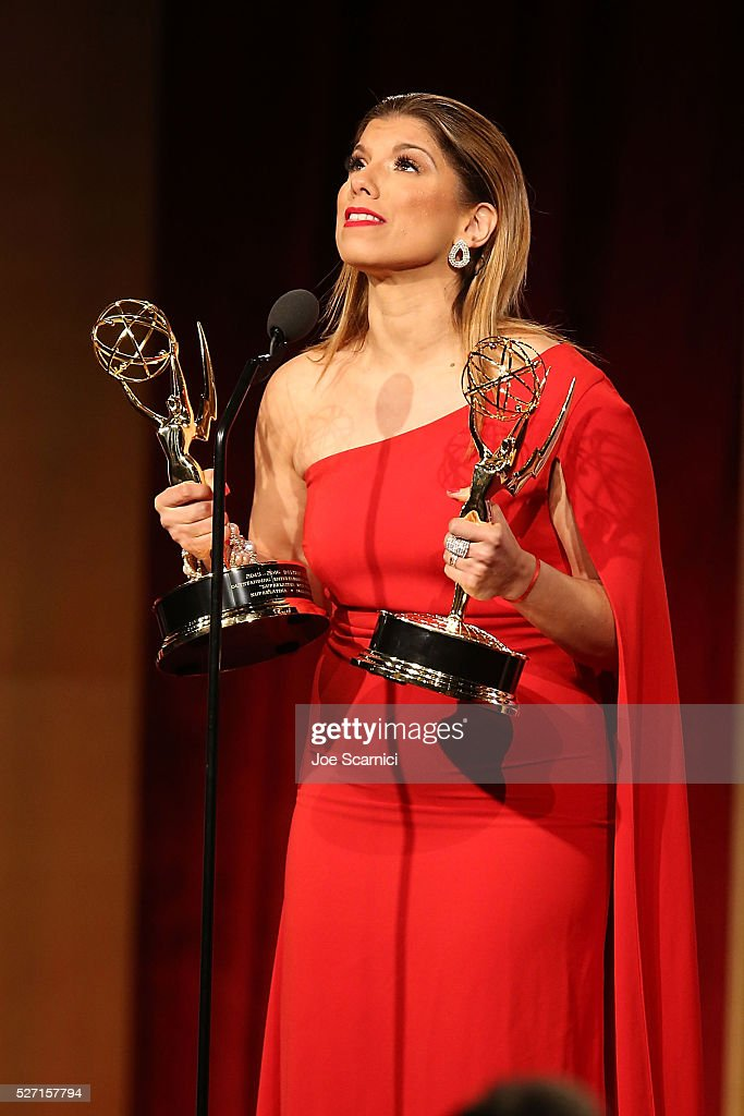 Journalist Gaby Natale speaks onstage after receiving two Emmys for Outstanding Daytime talent in a Spanish Language Program and for Outstanding Entertainment Program in Spanish at the 2016 Daytime Emmy Awards at Westin Bonaventure Hotel on May 1, 2016 in Los Angeles, California.