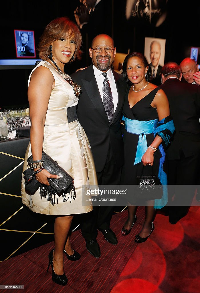 Journalist <a gi-track='captionPersonalityLinkClicked' href=/galleries/search?phrase=Gayle+King&family=editorial&specificpeople=215469 ng-click='$event.stopPropagation()'>Gayle King</a>, <a gi-track='captionPersonalityLinkClicked' href=/galleries/search?phrase=Michael+Nutter&family=editorial&specificpeople=4695146 ng-click='$event.stopPropagation()'>Michael Nutter</a>, and <a gi-track='captionPersonalityLinkClicked' href=/galleries/search?phrase=Susan+Rice&family=editorial&specificpeople=5458775 ng-click='$event.stopPropagation()'>Susan Rice</a> attend the 2013 Time 100 Gala at Frederick P. Rose Hall, Jazz at Lincoln Center on April 23, 2013 in New York City.