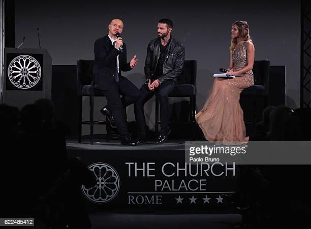 Journalist Gianluca Meola Italian boxer Giovanni De Carolis and actress Elisabetta Pellini attend the Winning Attitude Award ceremony at Villa...