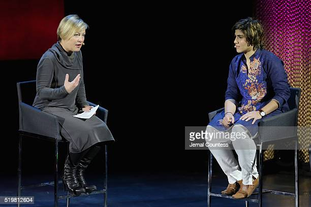 Journalist Gillian Tett and squash Player Maria Toorpakai Wazir speak onstage at The Winner during Tina Brown's 7th Annual Women in the World Summit...