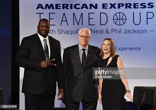 Journalist Hannah Storm moderates a panel discussion as American Express teams up with Shaquille O'Neal and Phil Jackson at the Altman Building on...