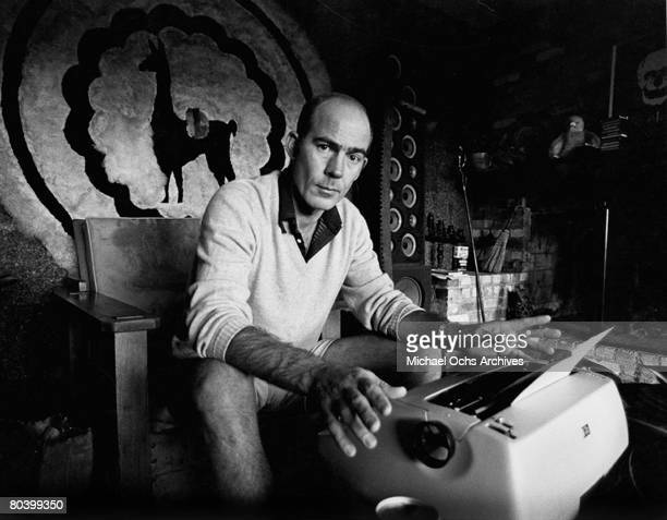 Journalist Hunter S Thompson sits at his typewriter at his ranch circa 1976 near Aspen Colorado