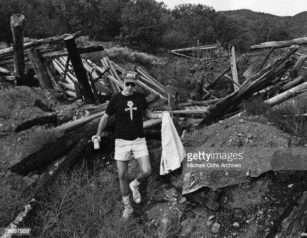 Journalist Hunter S Thompson takes a walk on his ranch circa 1976 near Aspen Colorado