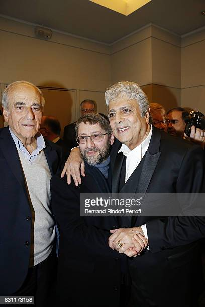 Journalist JeanPierre Elkabbach Chief Rabbi of France Haim Korsia and Singer Enrico Macias attend the Enrico Macias Show at L'Olympia on January 7...