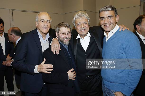 Journalist JeanPierre Elkabbach Chief Rabbi of France Haim Korsia Singer Enrico Macias and Lawyer Ramzi Khiroun attend the Enrico Macias Show at...