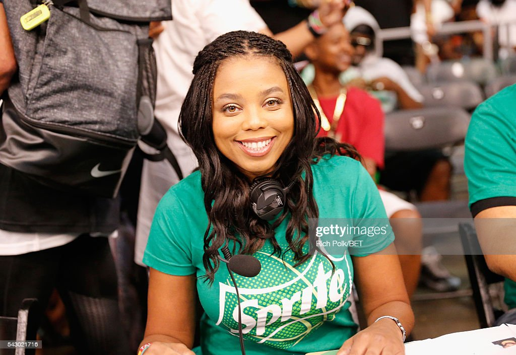 Journalist Jemele Hill provides commenary during the celebrity basketball game presented by Sprite during the 2016 BET Experience on June 25, 2016 in Los Angeles, California.