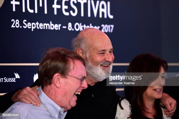 Journalist John Walcott Director Rob Reiner and Michele Reiner arrive at the 'Shock and Awe' press conference during the 13th Zurich Film Festival on...