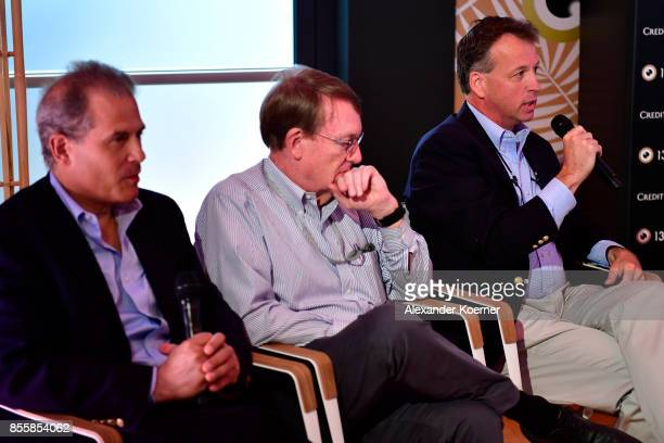 Journalist Jonathan Landay John Walcott and Warren Strobel speak at the 'Shock and Awe' press conference during the 13th Zurich Film Festival on...