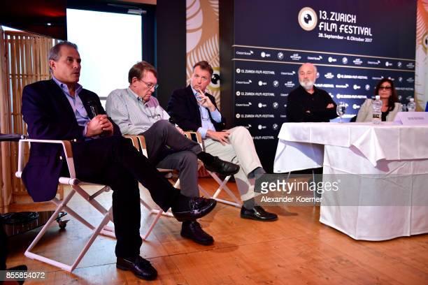 Journalist Jonathan Landay John Walcott Warren Strobel Director Rob Reiner and Michele Reiner speak at the 'Shock and Awe' press conference during...