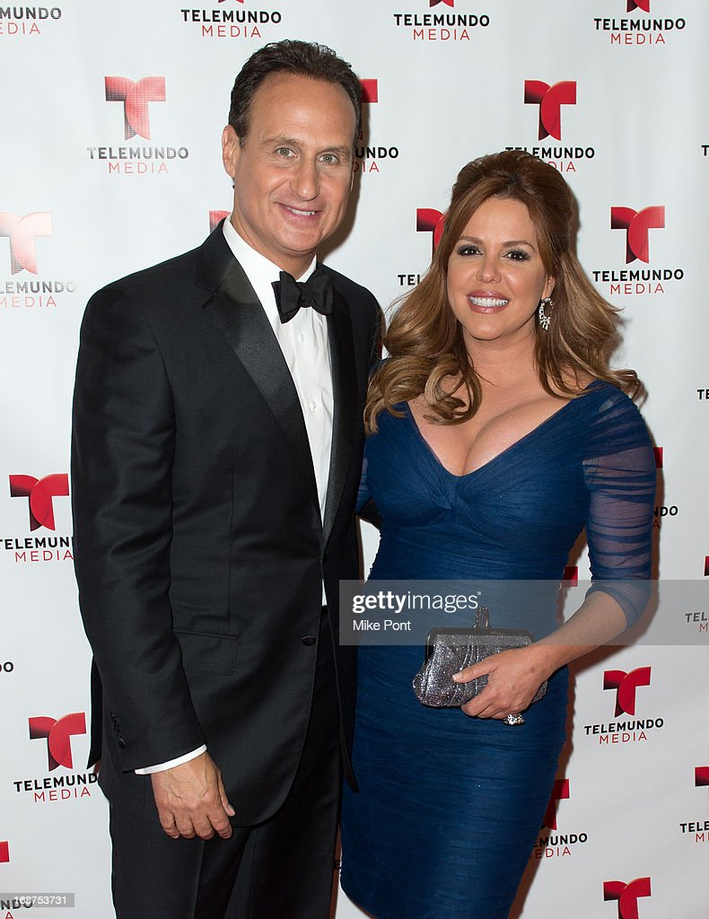 Journalist Jose Diaz-Balart and Journalist <a gi-track='captionPersonalityLinkClicked' href=/galleries/search?phrase=Maria+Celeste+Arraras&family=editorial&specificpeople=221494 ng-click='$event.stopPropagation()'>Maria Celeste Arraras</a> attend the 2013 Telemundo Upfront at Frederick P. Rose Hall, Jazz at Lincoln Center on May 14, 2013 in New York City.