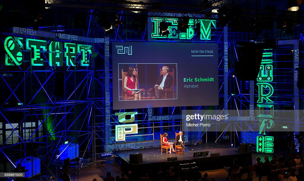 CNBC journalist Julia Chatterley interviews Eric Schmidt, CEO Alphabet, the parent company of Google, during the kick-off of Startup Fest Europe on May 24, 2016 in Amsterdam, The Netherlands. The event facilitates match-making between investors and startup entrepreneurs from all over the world.