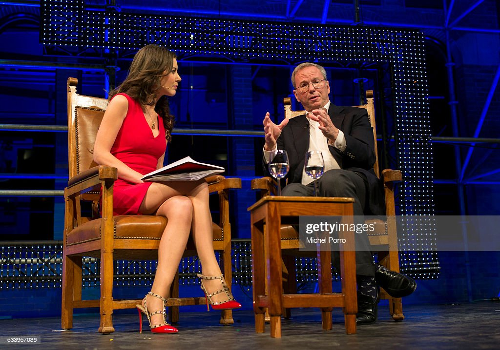 CNBC journalist Julia Chatterley interviews <a gi-track='captionPersonalityLinkClicked' href=/galleries/search?phrase=Eric+Schmidt&family=editorial&specificpeople=5515021 ng-click='$event.stopPropagation()'>Eric Schmidt</a>, CEO Alphabet, the parent company of Google, during the kick-off of Startup Fest Europe on May 24, 2016 in Amsterdam, The Netherlands. The event facilitates match-making between investors and startup entrepreneurs from all over the world.