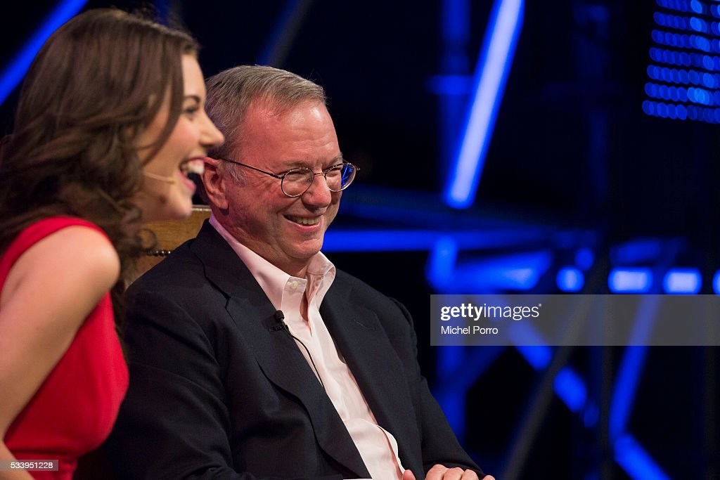 CNBC journalist Julia Chatterley interviews <a gi-track='captionPersonalityLinkClicked' href=/galleries/search?phrase=Eric+Schmidt&family=editorial&specificpeople=5515021 ng-click='$event.stopPropagation()'>Eric Schmidt</a>, CEO of Alphabet, the parent company of Google, during the kick-off of Startup Fest Europe on May 24, 2016 in Amsterdam, The Netherlands. The event facilitates match-making between investors and startup entrepreneurs from all over the world.