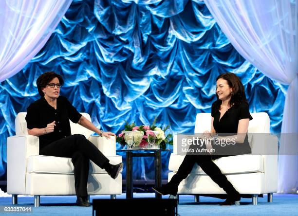Journalist Kara Swisher and COO of Facebook Sheryl Sandberg speak at the Watermark Conference for Women at San Jose Convention Center on February 1...