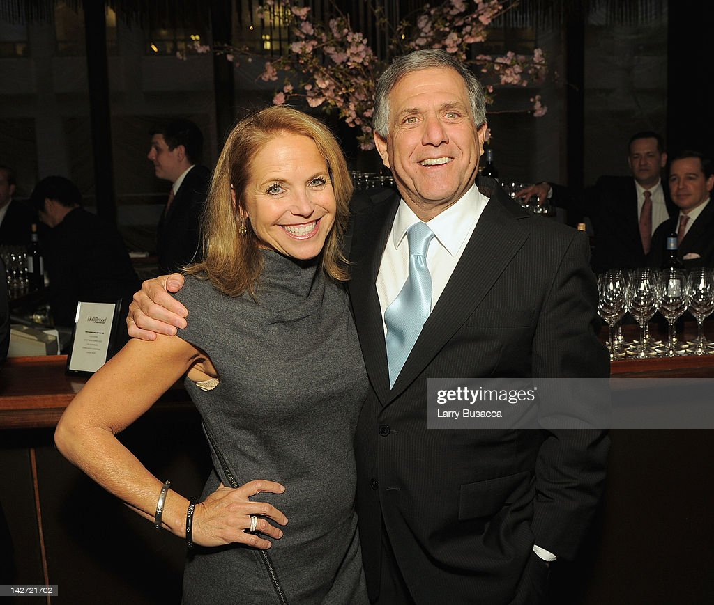 Journalist <a gi-track='captionPersonalityLinkClicked' href=/galleries/search?phrase=Katie+Couric&family=editorial&specificpeople=202633 ng-click='$event.stopPropagation()'>Katie Couric</a> and Leslie Moonves, President and Chief Executive Officer of CBS Corporation attend the Hollywood Reporter celebration of 'The 35 Most Powerful People in Media' at the Four Season Grill Room on April 11, 2012 in New York City.