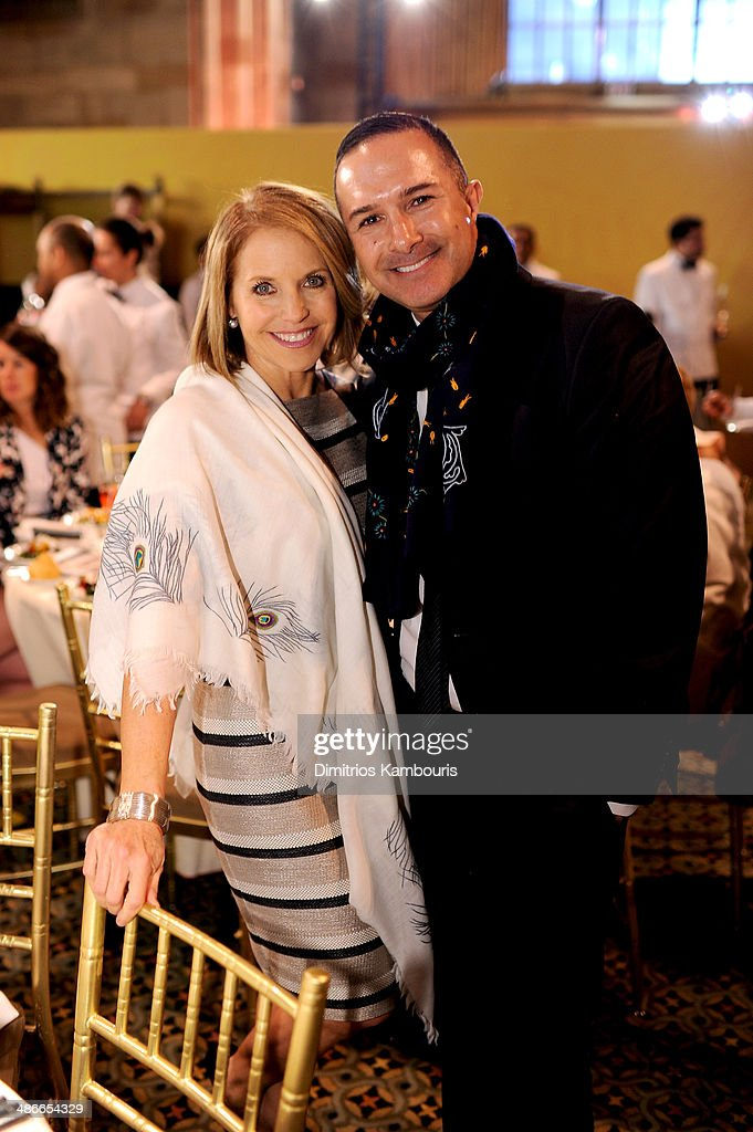Journalist Katie Couric and Matin Maulawizada attend Variety Power Of Women New York presented by FYI at Cipriani 42nd Street on April 25 2014 in New...