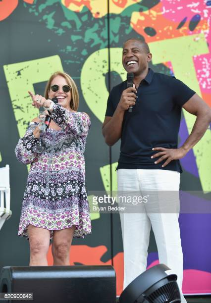 Journalist Katie Couric and OZY CEO and CoFounder Carlos Watson speak onstage during OZY FEST 2017 Presented By OZYcom at Rumsey Playfield on July 22...