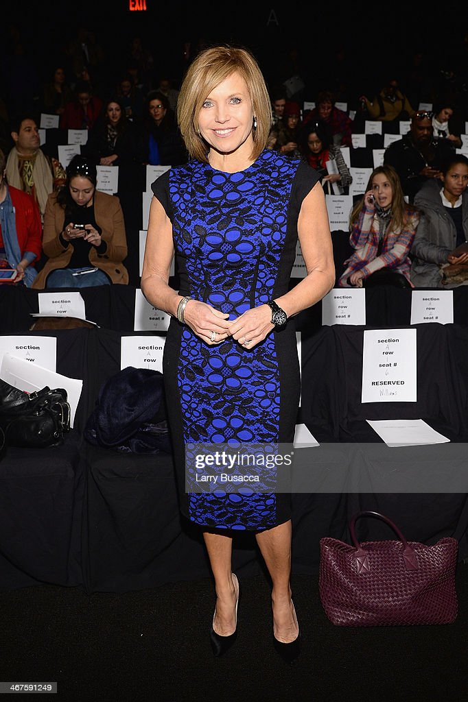 Journalist <a gi-track='captionPersonalityLinkClicked' href=/galleries/search?phrase=Katie+Couric&family=editorial&specificpeople=202633 ng-click='$event.stopPropagation()'>Katie Couric</a> attends Carmen Marc Valvo fashion show during Mercedes-Benz Fashion Week Fall 2014 at The Salon at Lincoln Center on February 7, 2014 in New York City.