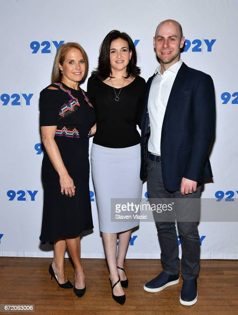 Journalist Katie Couric author and COO of Facebook Sheryl Sandberg and author Adam Grant attend 92Y's event 'Sheryl Sandberg And Adam Grant In...