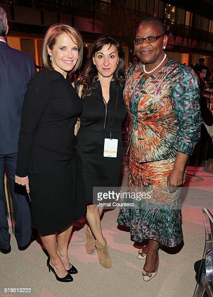 Journalist Katie Couric photojournalist Lynsey Addario and activist Obiageli Ezekwesili attend Tina Brown's 7th Annual Women In The World Summit VIP...