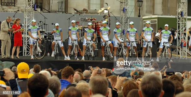 TV journalist Katie Derham introduces one of the teams at the opening ceremony of the Tour de France in London's Trafalgar Square