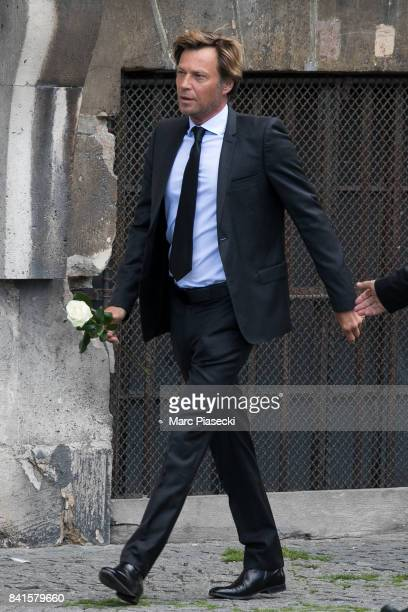 Journalist Laurent Delahousse attends actress Mireille Darc's Funeral at Eglise SaintSulpice on September 1 2017 in Paris France