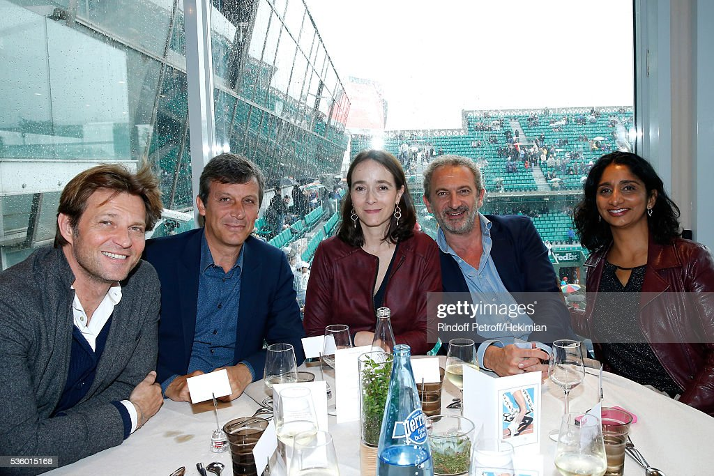 Journalist Laurent Delahousse, Politician David Assouline, President of France Television, Delphine Ernotte, guest and Presenter of France 3 Night Newscast, Patricia Loison attend the 'France Television' Lunch during Day Ten of the 2016 French Tennis Open at Roland Garros on May 31, 2016 in Paris, France.
