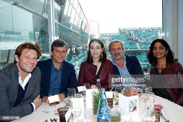 Journalist Laurent Delahousse Politician David Assouline President of France Television Delphine Ernotte guest and Presenter of France 3 Night...