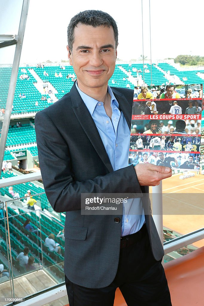 Journalist Laurent Luyat presents his book 'Sports Strokes' (Les Coups du Sport) on France 2 TV channel at Roland Garros Tennis French Open 2013 - Day 12 on June 6, 2013 in Paris, France.